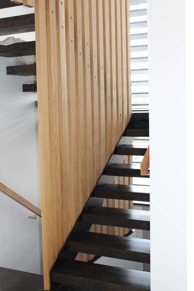 engineered oak flooring stair tread close up
