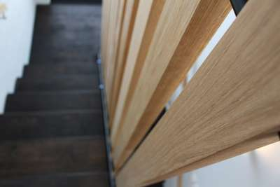 engineered oak flooring with bona graphite stair tread close up